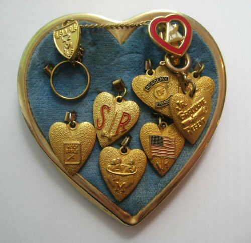 VINTAGE Gold Tone Heart Pin WOMEN OF THE MOOSE Achievement Charms Brooch