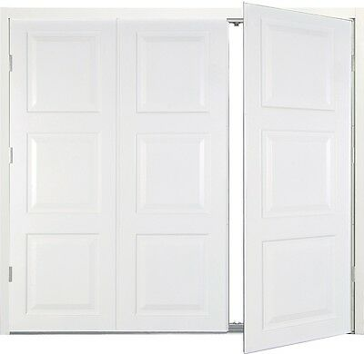 White side hinged garage doors Georgian  7066 New,  Framed