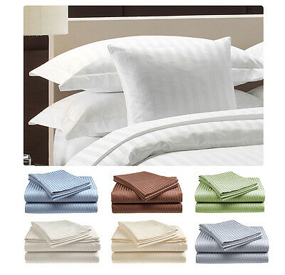 Deluxe Hotel   300 Thread Count 100  Cotton Sateen Sheet Set Dobby Stripe