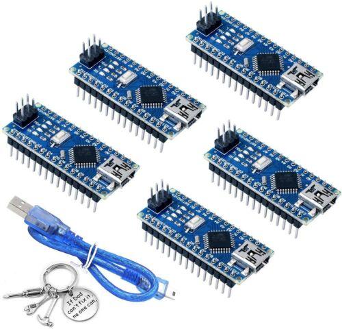5 Pcs Mini Usb Nano V3.0 Atmega328 5v 16mhz Ch340g Board For Arduino