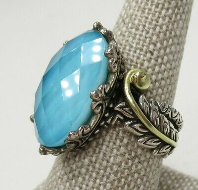 Barbara Bixby 18K YG & 925 Sterling Silver Turquoise Doublet Feather Ring Size 7