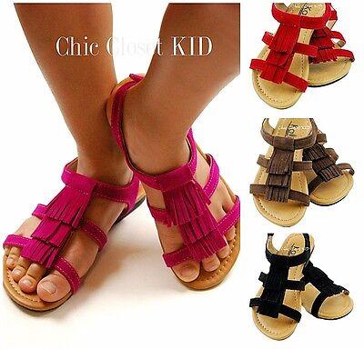 Little Girls Pageant Fringe Summer Color Pink JR Toddler Flats Gladiator Sandals (Girls Pink Pageant Shoes)