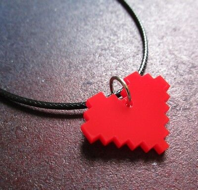 8 Bit Pixel Life Heart Necklace Red Acrylic Video Game Girl Gamer (Pixelated Heart)