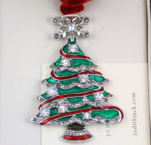 NEW in Box JUDITH JACK Christmas Tree Ornament Pendant 2005 Marcasite Crystals