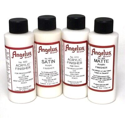 Angelus Leather Satin Matte High Gloss Acrylic Finisher 4 oz (4 Ounce Satin Finish)