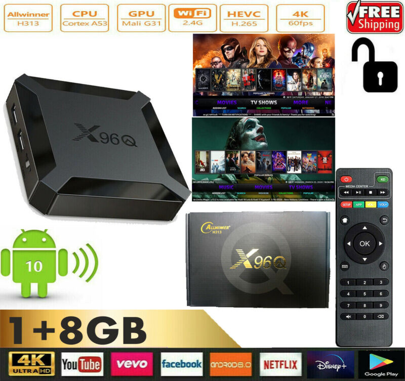 X96Q mini Smart Android 10 TV Box H313 Quad Core H.265 1G 8G WiFi Media Player