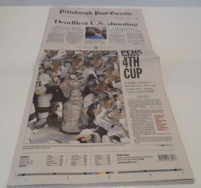 Pittsburgh Penguins 2016 Stanley Cup Championship Post Gazette Newspaper 6 13 16