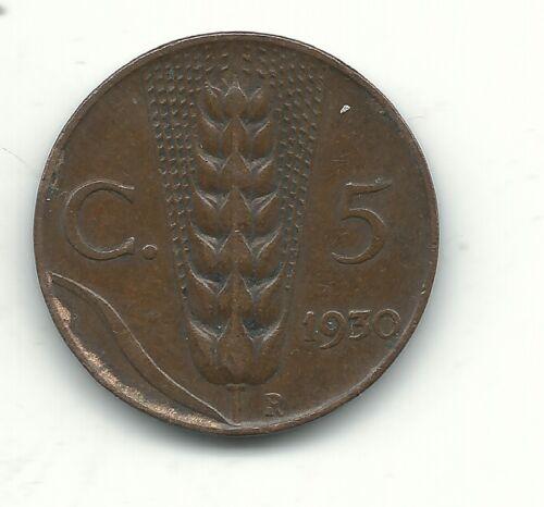 VINTAGE HIGH GRADE 1930 R ITALY 5 CENTESIMI COIN-DEC687