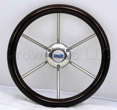 Sport Line 345mm Marine Steering Wheel Pegaso Mahogany Wood Stainless 30345/M