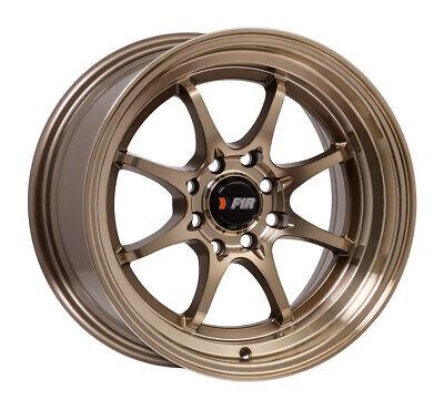 """F1R Wheels F03 Rims 15x8 4x100 4x114.3 +25 Offset 2.75"""" Step Lip Machined Bronze"""