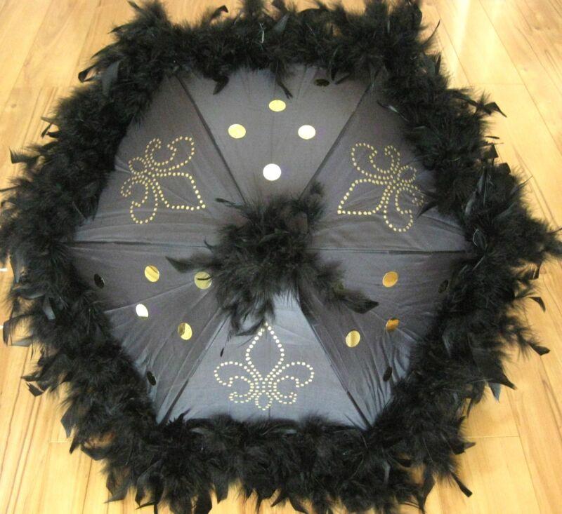 ONE BLACK Fleur de Lis Second Line Wedding Umbrellas feather parasol New Orleans