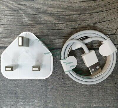 Genuine Apple Mains Wall Plug Charger & 1m Cable For iPhone 5C 6 6s 7/8+ X XR UK