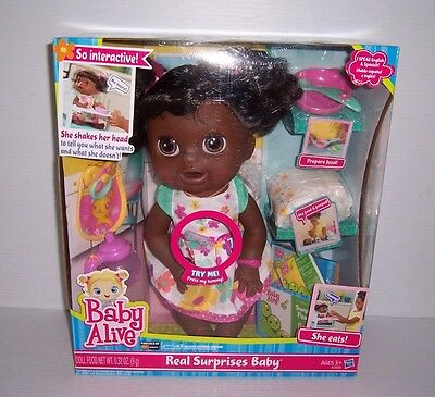 Baby Alive Real Surprises African American Baby Doll She Eats & Poops A3850 NEW!, used for sale  Bedford