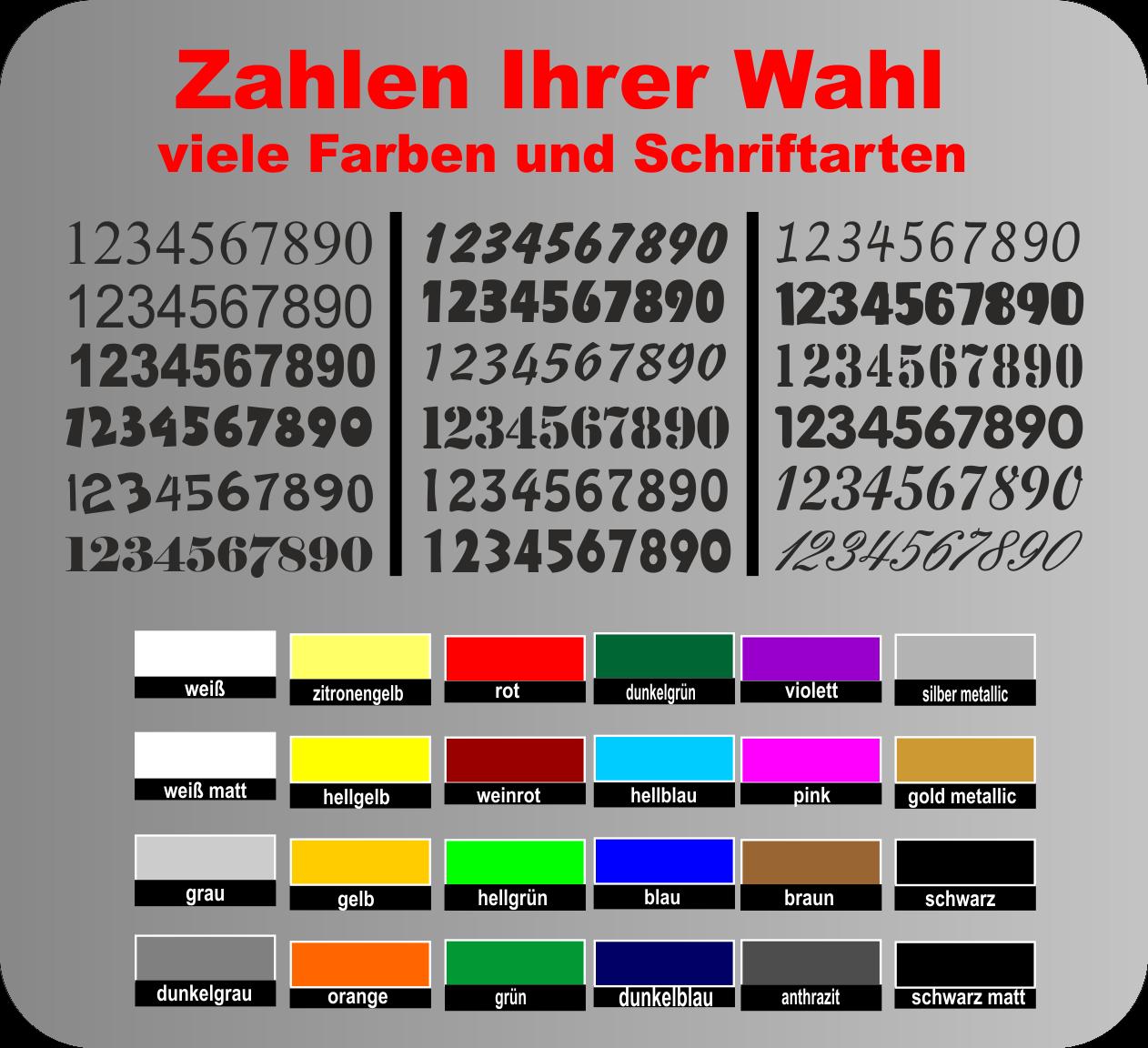 selbstklebende Zahlen Aufkleber Mülltonne Hausnummer Startnummer Briefkasten SC