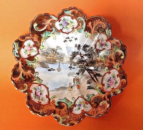 Hand Painted Imari Scalloped Bowl - River Scene - Gold Accents - Nippon Japan