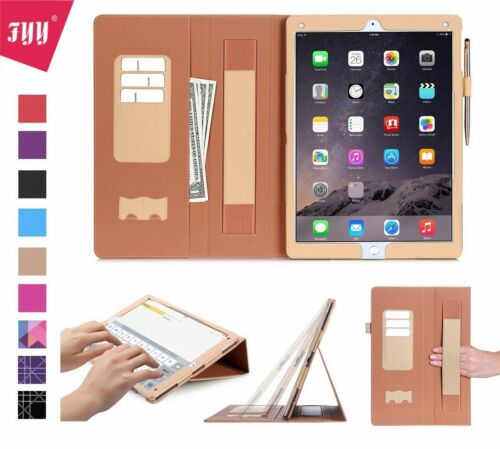 iPad Pro 12.9 Case Leather Card Slots Note Holder Pencil Hand Strap Elastic New