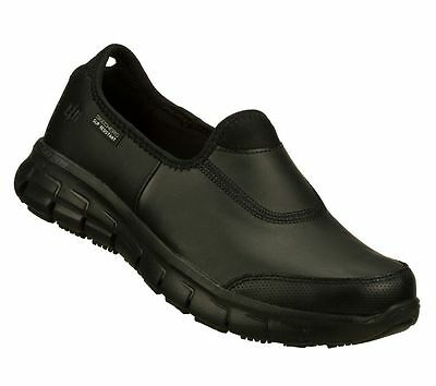 Womens Black Skechers Shoes 76536 Memory Foam Work Flex Relax New Slip Resistant