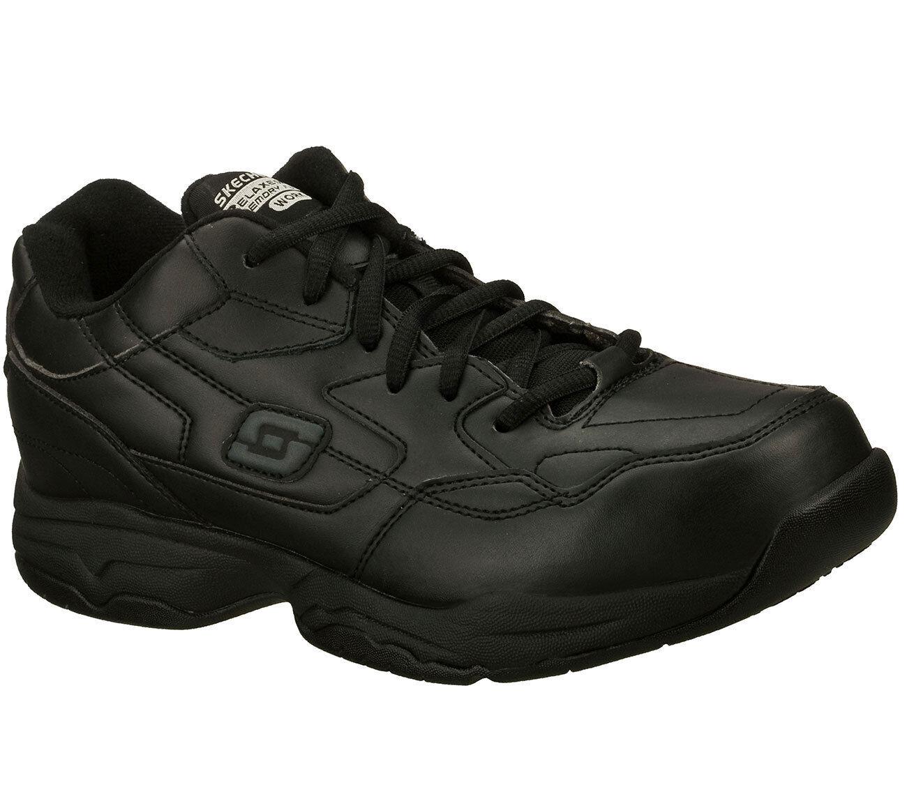 Skechers Shoes Men's Wide Width Black Memory Foam Work Slip