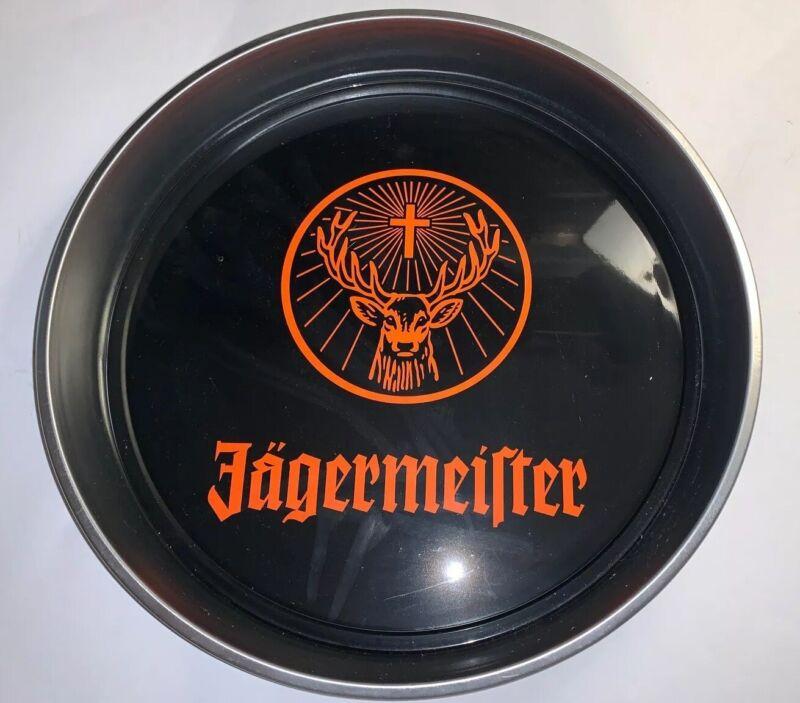 "Jagermeister Black Metal Serving Tray 13 3/4""  Orange Logo Excellent Used Cond"