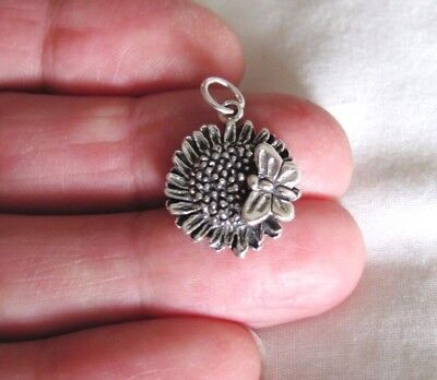 Sterling Silver Butterfly on sunflower charm (Sunflower Charm)