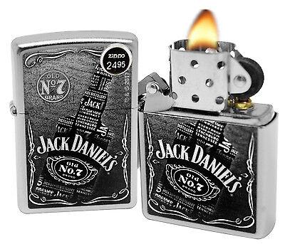 Zippo 29285 Jack Daniel's Collage  Whiskey Bottle Satin Chrome Finish Lighter