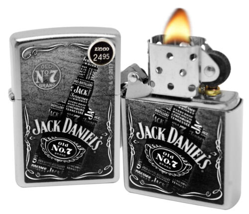 Zippo 29285 Jack Daniel's Collage  Whiskey Bottle Satin Chro