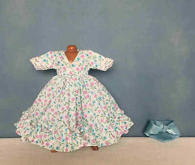 "Tagged Madame Alexander BLUE FLORAL PRINT DRESS w/ SCARF ~ For 8"" Dolls ~ Mint"