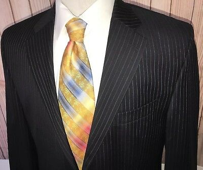 Ralph Lauren Men's Sz 42L Blazer Sport Coat Blue Pinstripe 100% Wool Suit Jacket