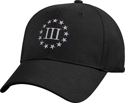 Black Three Percenter Cap 3% III Percent Embroidered Military Baseball Hat