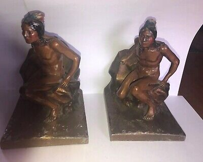 Antique K&O Co. Bronze Bookends of Native Indian Scouts Painted Arrows