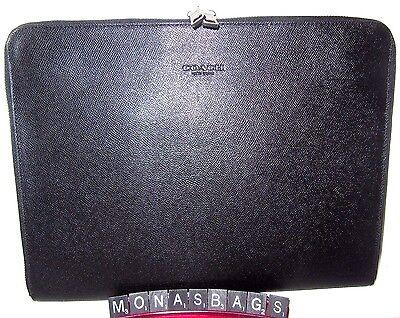 Coach Black Textured Leather Zip Around Tech Portfolio F59119 New Auth NWT $275