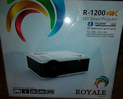 Brand New! 3D Smart Projector · Royale R-1200 · 4k LED HD 1080p · 7200 Lumens