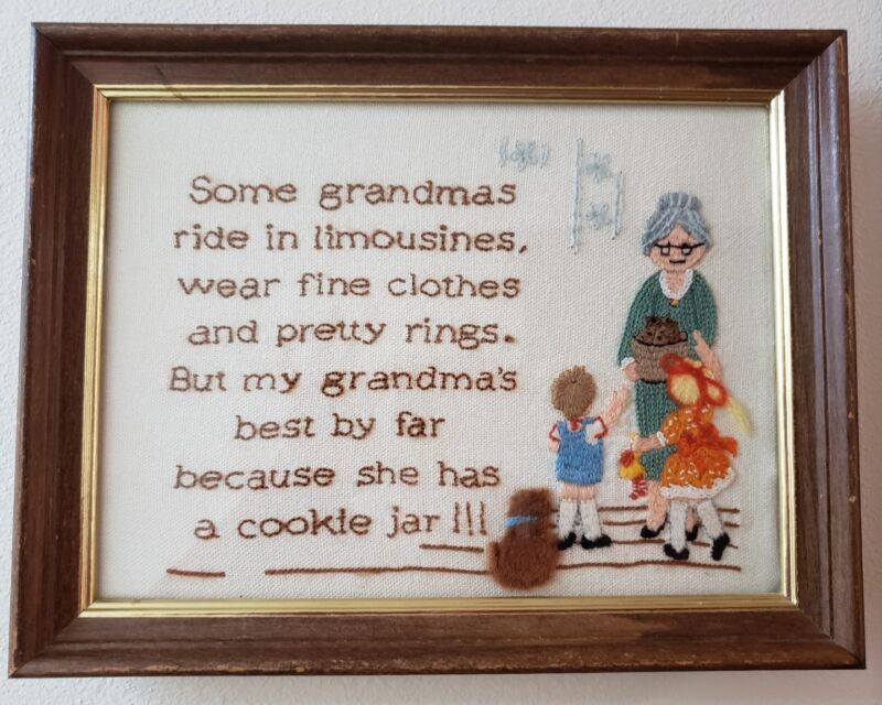 COMPLETED CREWEL EMBROIDERY FRAMED Grandmas has a cookie jar