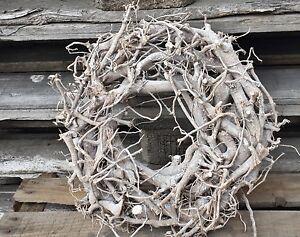 Wurzelkranz natur weiß gewischt Kranz Ø 30 Holzkranz Adventskranz Türkranz