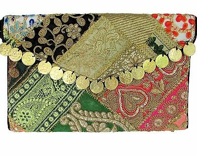 US SELLER Vintage Gypsy Embroidered Coins Handbag Clutch Indian Handmade w/Strap