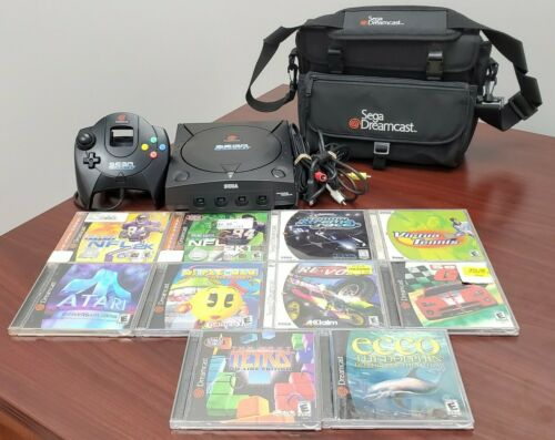 Sega Dreamcast Black Sega Sports Console + 10 Games + Carrying Bag Bundle