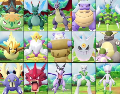 All *15 Shiny Mega-Pokemon Set Pokemon Lets Go Pikachu & Eevee 6IV/Max AV