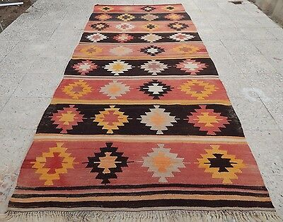Entry Way Foyer Kilim Rug Front Door Turkish Runner Decorating Idea 4.2X9.4 FT