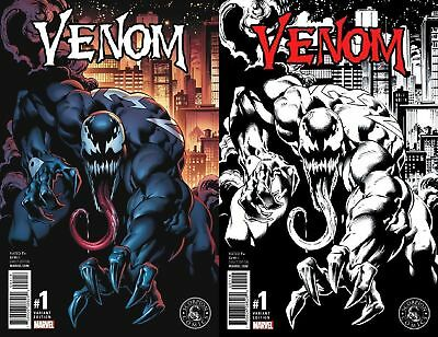 VENOM #1 MARK BAGLEY VARIANTS VF COLOR B&W SET LOW PRINT RUNS 3000 COLOR 1500 BW