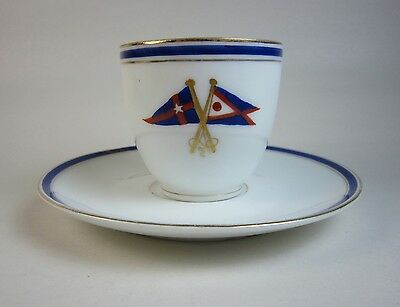 Antiquated New York Yacht Club & Fred Thurber Sachem Porcelain Demi Cup & Saucer