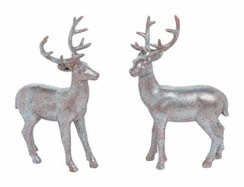 Set of 2 Resin Bronze Color Glitter Standing Reindeer #Y6065