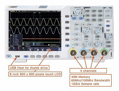 Owon Xds3064e 60mhz 4ch 8bits 40m Touchscreen Low Noise Digital Oscilloscope