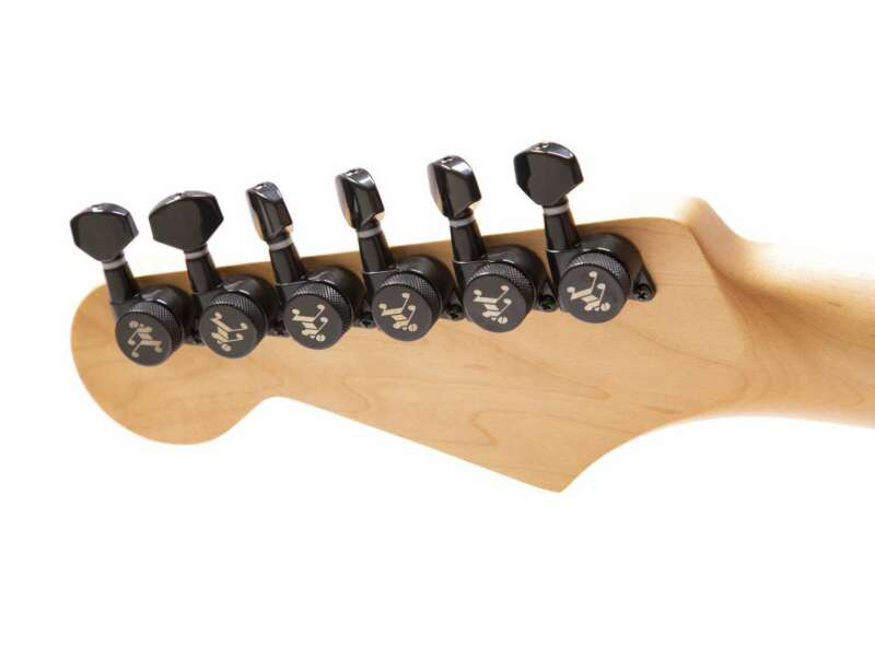 Genuine Tone Ninja 19:1 Locking Tuners, 6 Inline Staggered set, Black