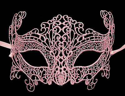 Mask from Venice Lace Burano-Wolf Civet Carnival- Pink English 1355