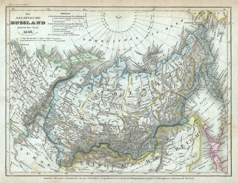 1852 Meyer Map of Russia in Asia or Siberia