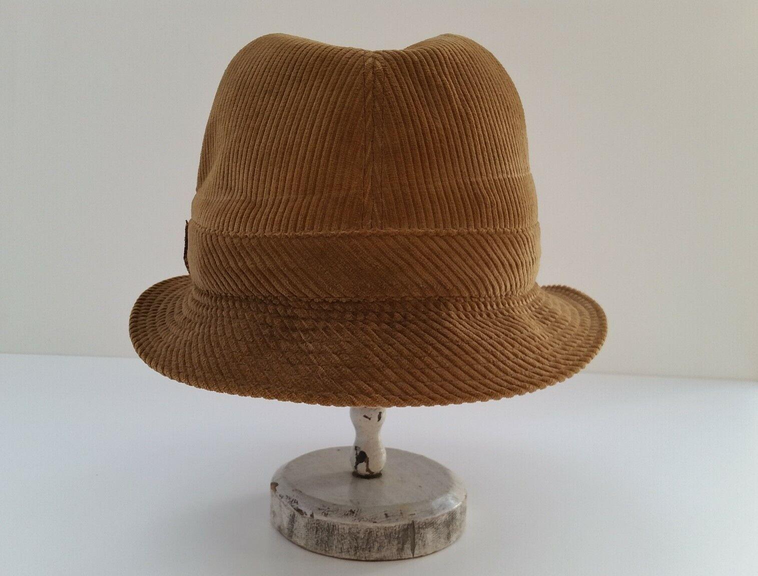 Trilby t 57 chapeau velours marron clair unisexe occasion vintage
