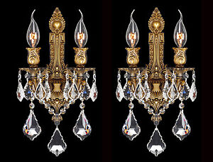 Pair Set of 2 Versailles 2 Light Bronze Finish Crystal Wall Sconce 12