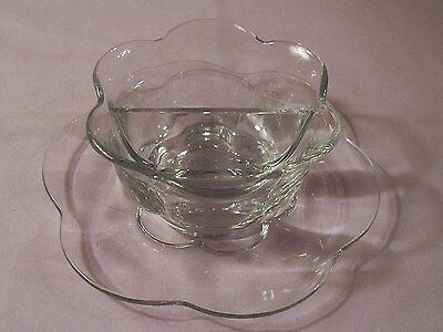 Duncan Miller Glass Canterbury 2 Part Divided Salad Dressing w/ Bowl Underplate