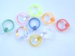 PLASTIC-ACRYLIC-1-6mm-14ga-x-10mm-UV-EYEBROW-RETAINER-BCR-BALL-CAPTIVE-RING
