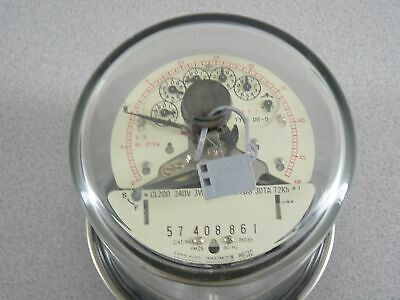 Vintage Sangamo Electric Watthour Meter 240v Type Dr-5 Fm25 4 Lug Glass Dome